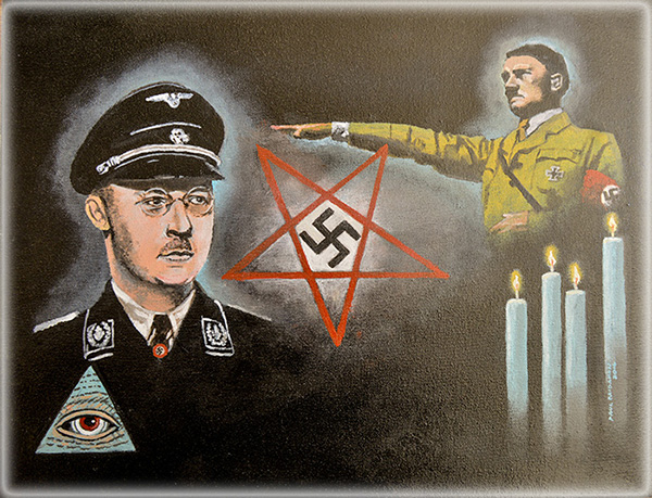 INMATE'S NAZI OCCULT PAINTING DEPICTING ADOLF HITLER, HEINRICH HIMMLER , THE SATANIC  BAPHOMET SYMBOL , SWASTIKA AND ILLUMINATI SYMBOLS .